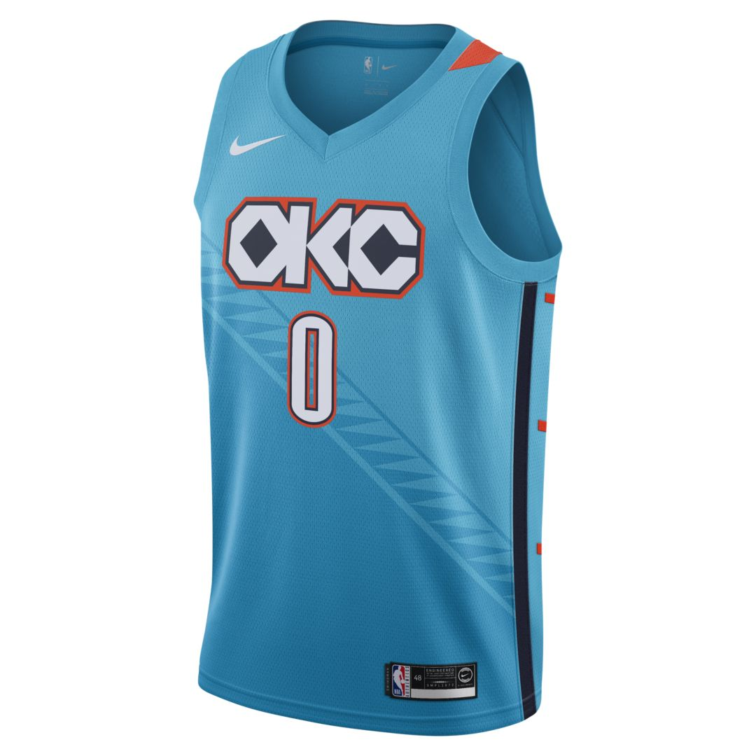 51162d7051089 Russell Westbrook City Edition Swingman (Oklahoma City Thunder) Men's Nike  NBA Connected Jersey Size 2XL (Tidal Blue)