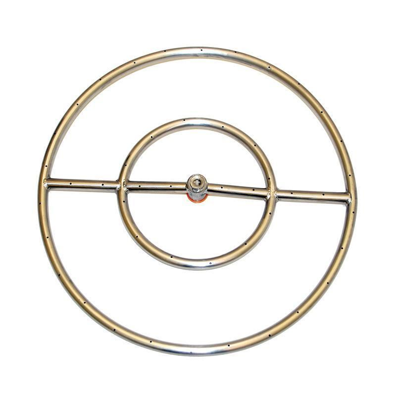 Hpc 30 Inch Natural Gas Fire Pit Kit With Round Stainless Steel Ring Burner Match Light Gas Fire Pit Kit Fire Ring Natural Gas Fire Pit