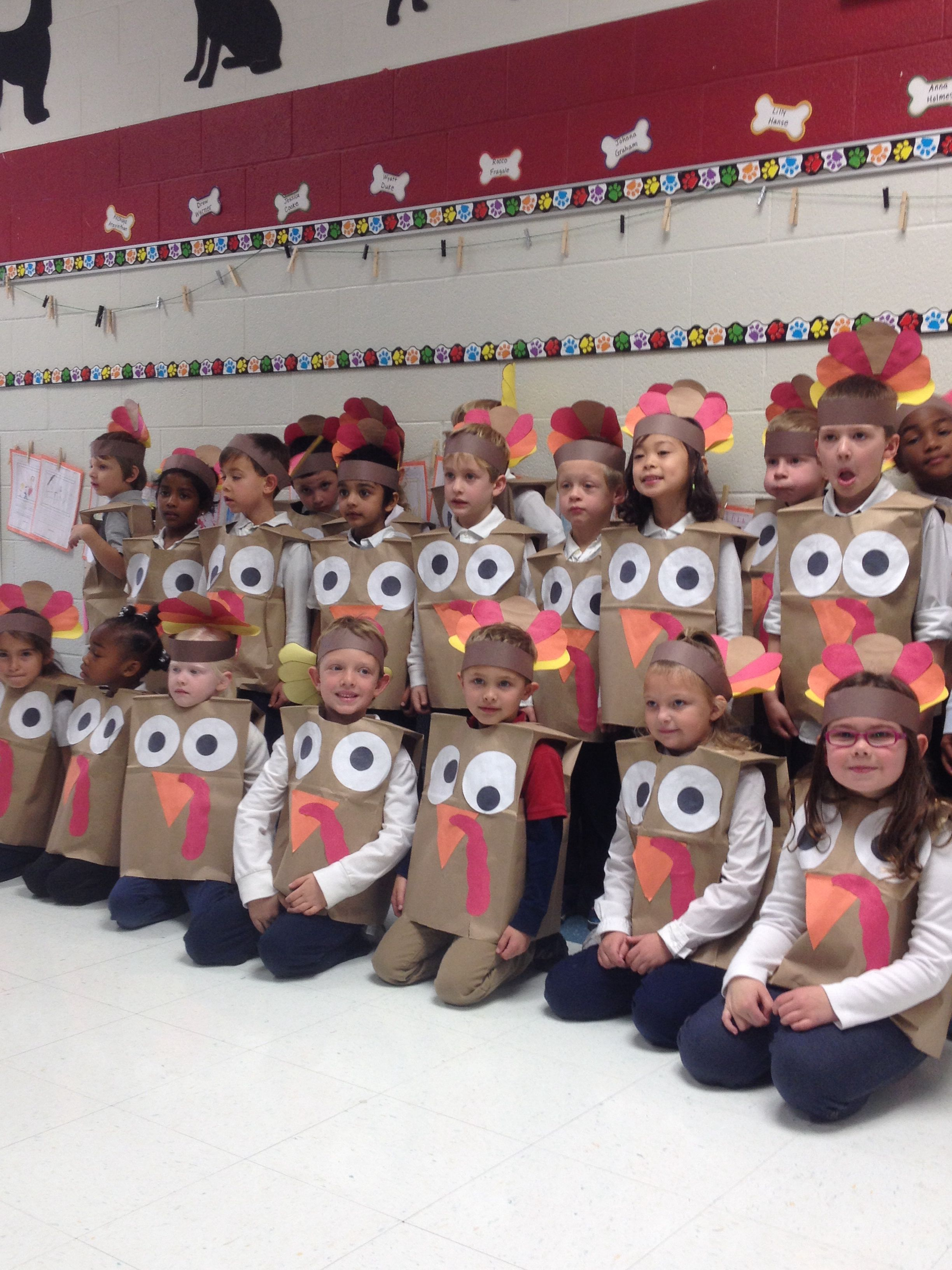 Turkey costumes! Paper bags and construction paper make great ...