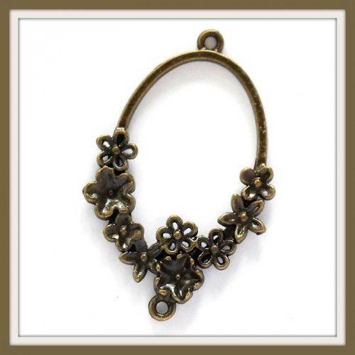Antikolt bronz színű ovális, virágokkal díszített kapcsoló elem, függő dísz NIKKELMENTES - Kapcsoló elemek - Csinálj Ékszert! webáruház