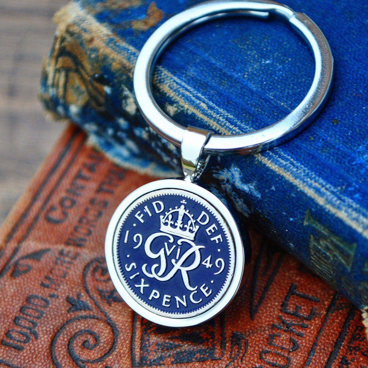 Sixpence 1949 BIRTHDAY PRESENT GIFT ORIGINAL LUCKY SIXPENCE KEY RING