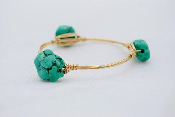 Aqua Green Nugget Bangle on Etsy, $25.00