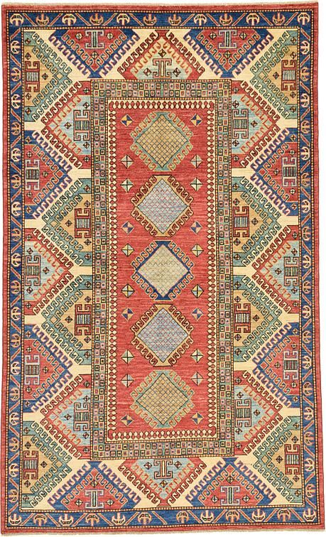 Cream Geometric Kazak Area Rug