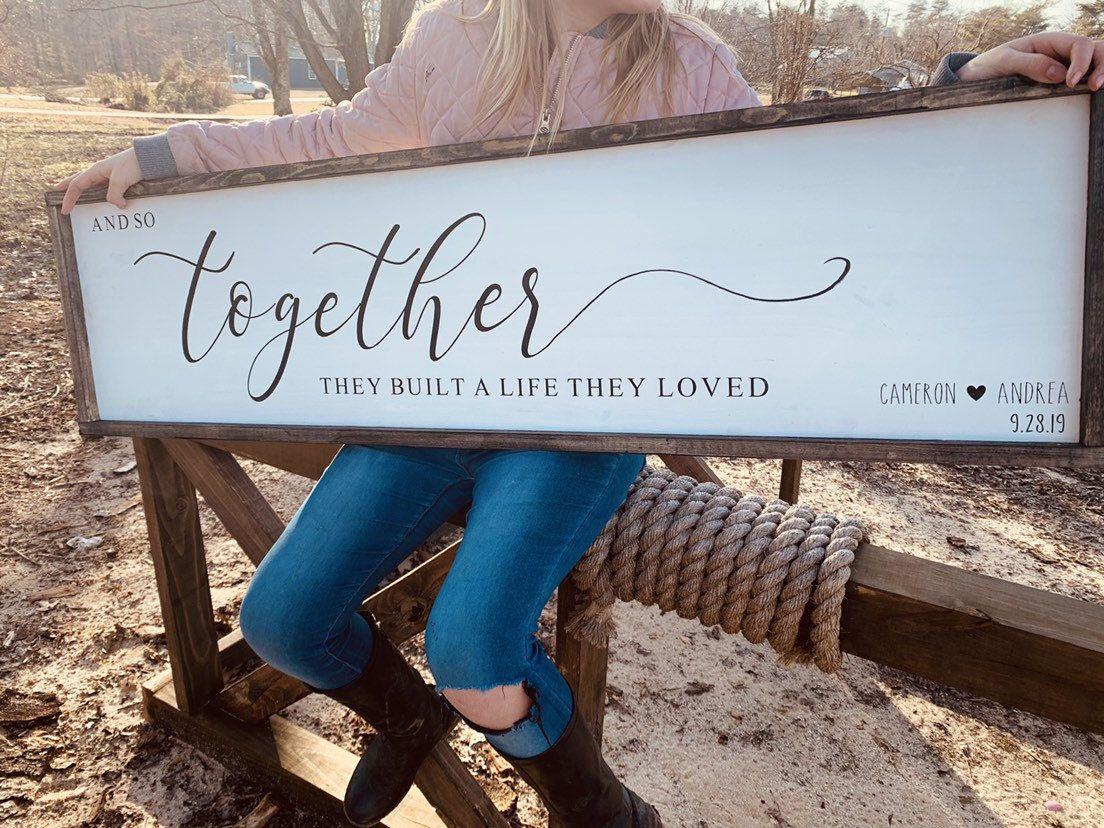 Photo of Mothers Day Gift | And So Together They Built A Life They Loved | Wedding Gift Sign Idea | Anniversary Gift | Farmhouse sign | Family Room S