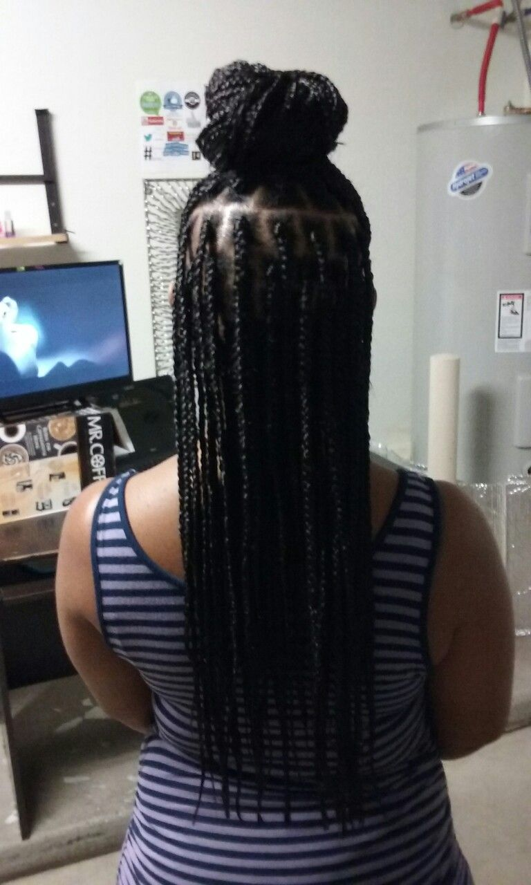 Box braids top bun jhairwebs hair by deanna pinterest