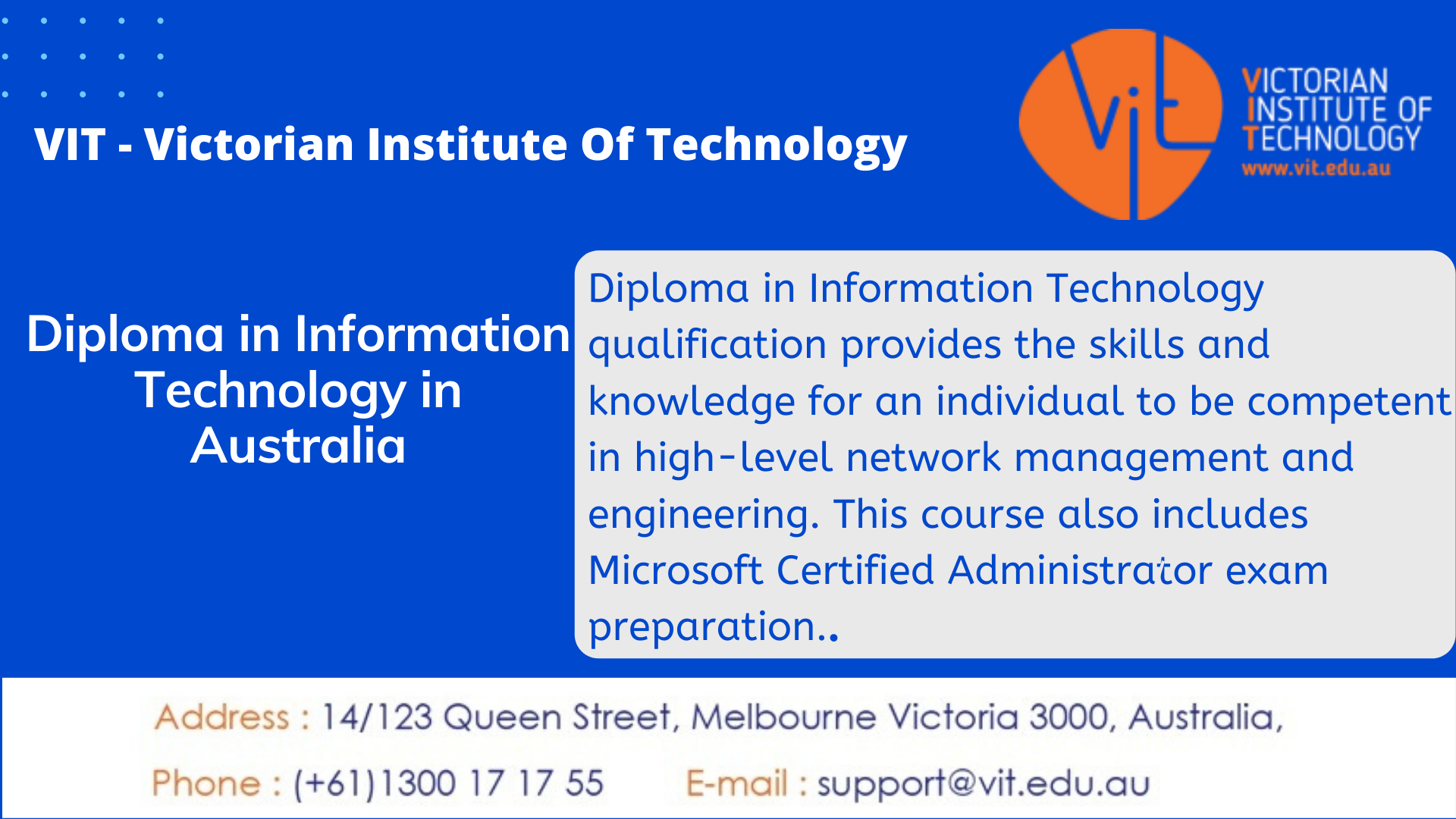 Diploma In Information Technology In Australia Information Technology Technology Diploma