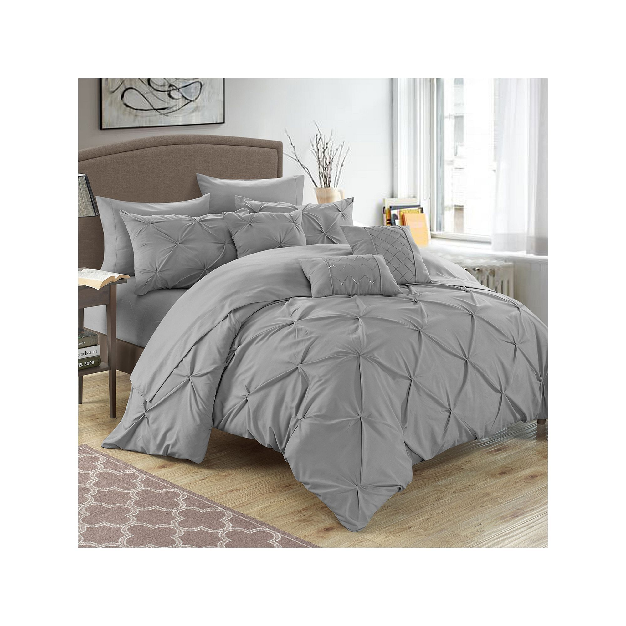 chic home hannah 10piece bed in a bag set grey
