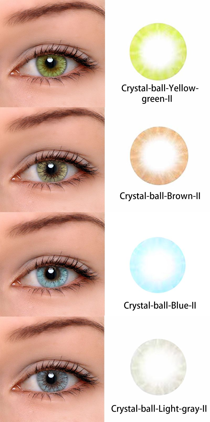 Crystal Ball Yellow Green Ii Crystal Ball Brown Ii Crystal Ball Blue Ii And Crystal Ball Light Gray Ii Colored Eye Contacts Colored Contacts Circle Lenses