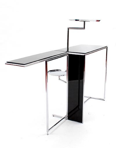 Found On Www.botterweg.com   Serving  Or Tea Table Rivoli With Foldable  Table Top And Two Swiveling Metal Trays Made Of Chrome Plated Steel With  Black ...