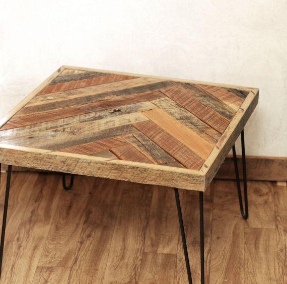 Square Herringbone Coffee Table With Hairpin Legs Barn Wood