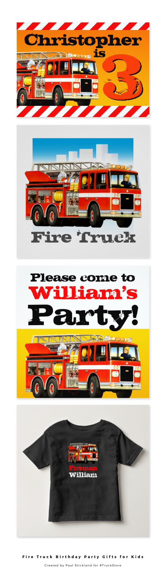 Kids love Fire Trucks and Firemen, so here is a Collection of the best Fire Truck Birthday Party Gifts and Fire Truck Party…