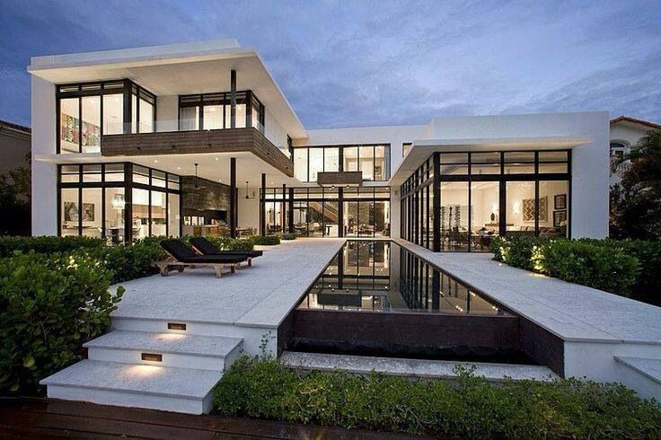 Awesome house design. Lots of windows with black liner. #modern ...