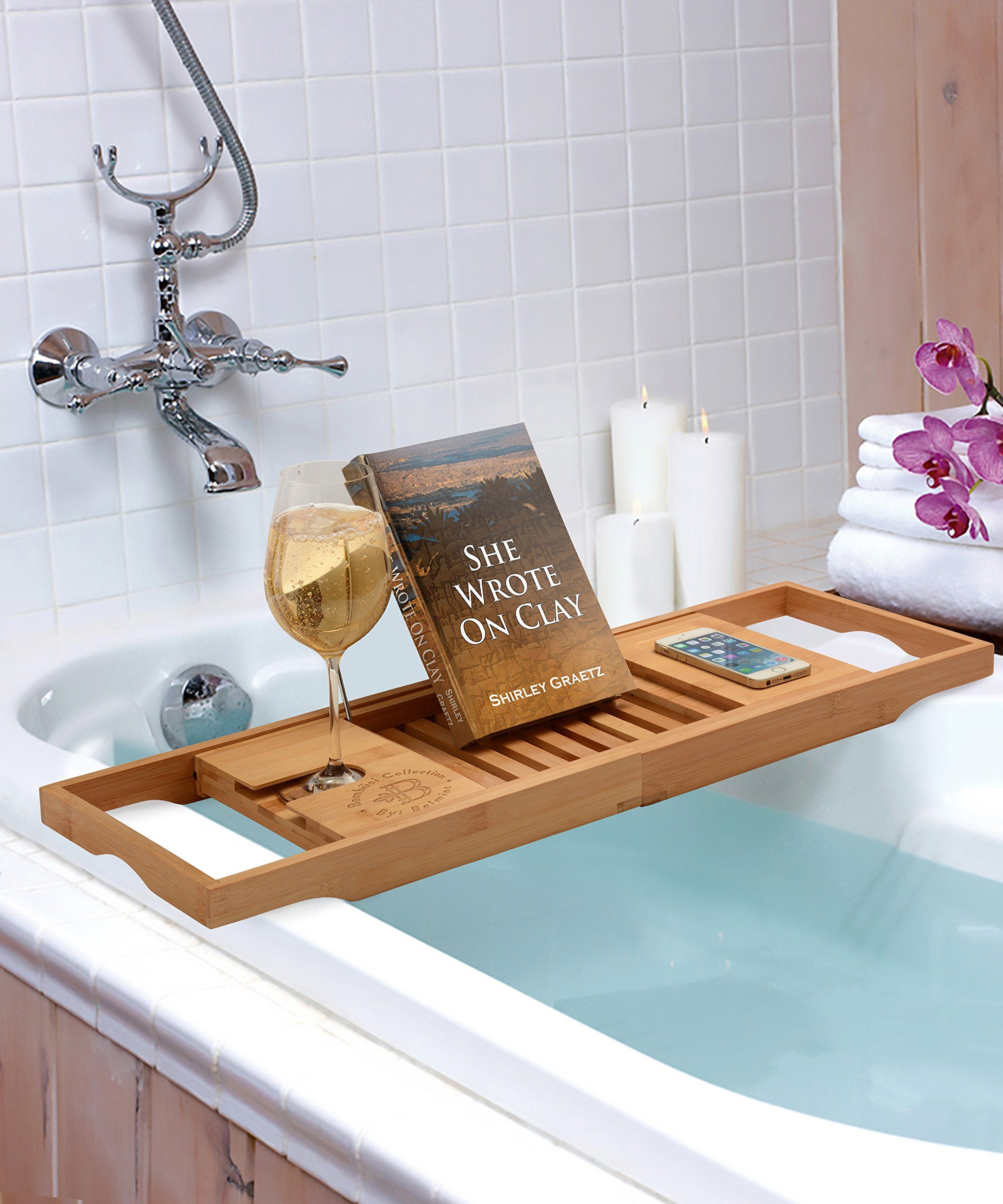 Amazon.com - Bambüsi By Belmint 100% Bamboo Bathtub Caddy with ...