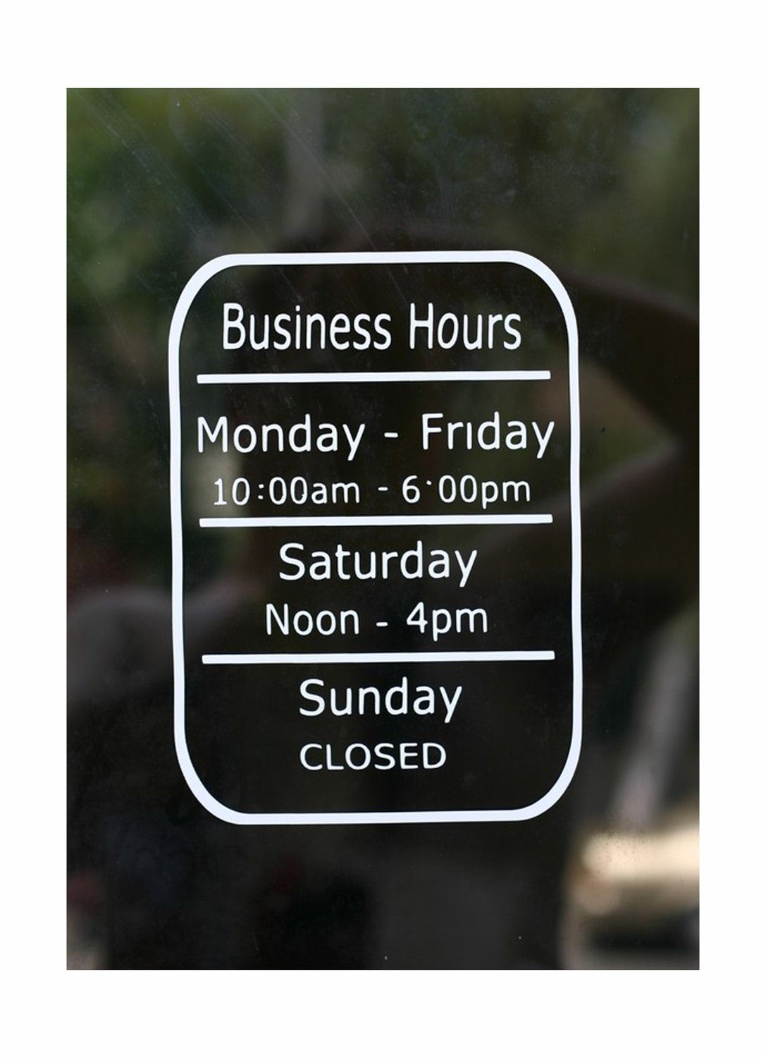 Business Hours Store Window Vinyl Decal Open Closed Hours - Window stickers for business hours
