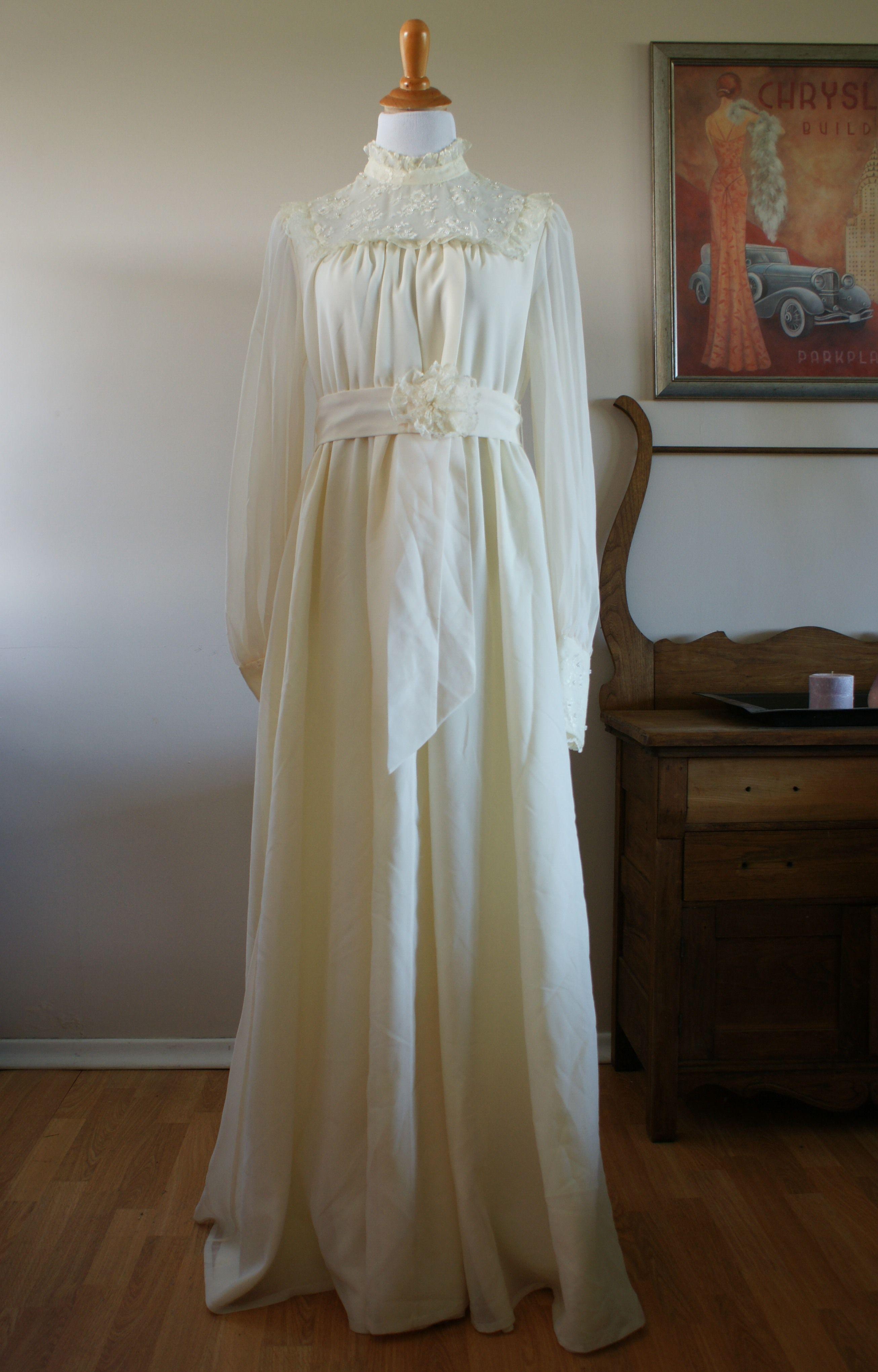 Ivory wedding dresses with sleeves  us Vintage Edwardian Style Lace Yolk Long Sleeve Ivory Chiffon