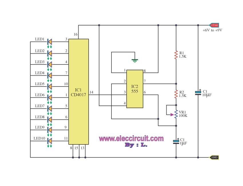 Led Chaser Circuit With Pcb Layout Running Lights Eleccircuit Com Led Projects Led Layout