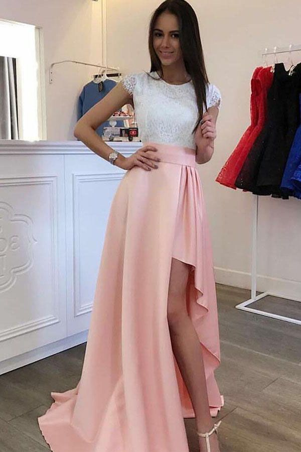 Cheap Luscious Lace Prom Dresses Sleeves Detachable Train Pearl Pink ...