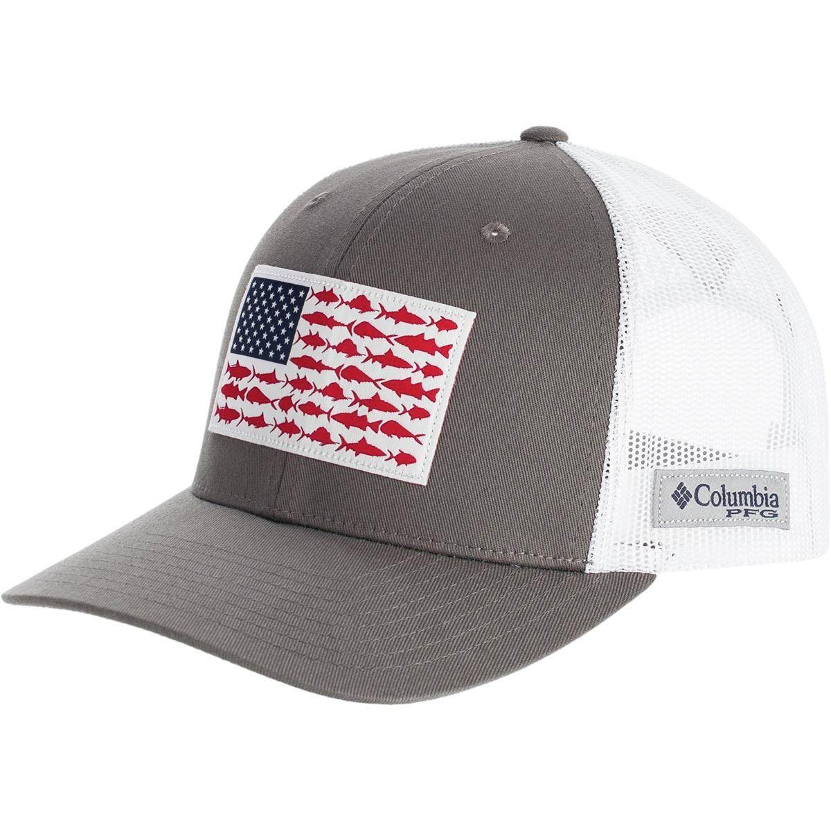 Pfg Mesh Fish Flag Snap Back Trucker Hat In 2021 Ball Cap Columbia Pfg Columbia Hat