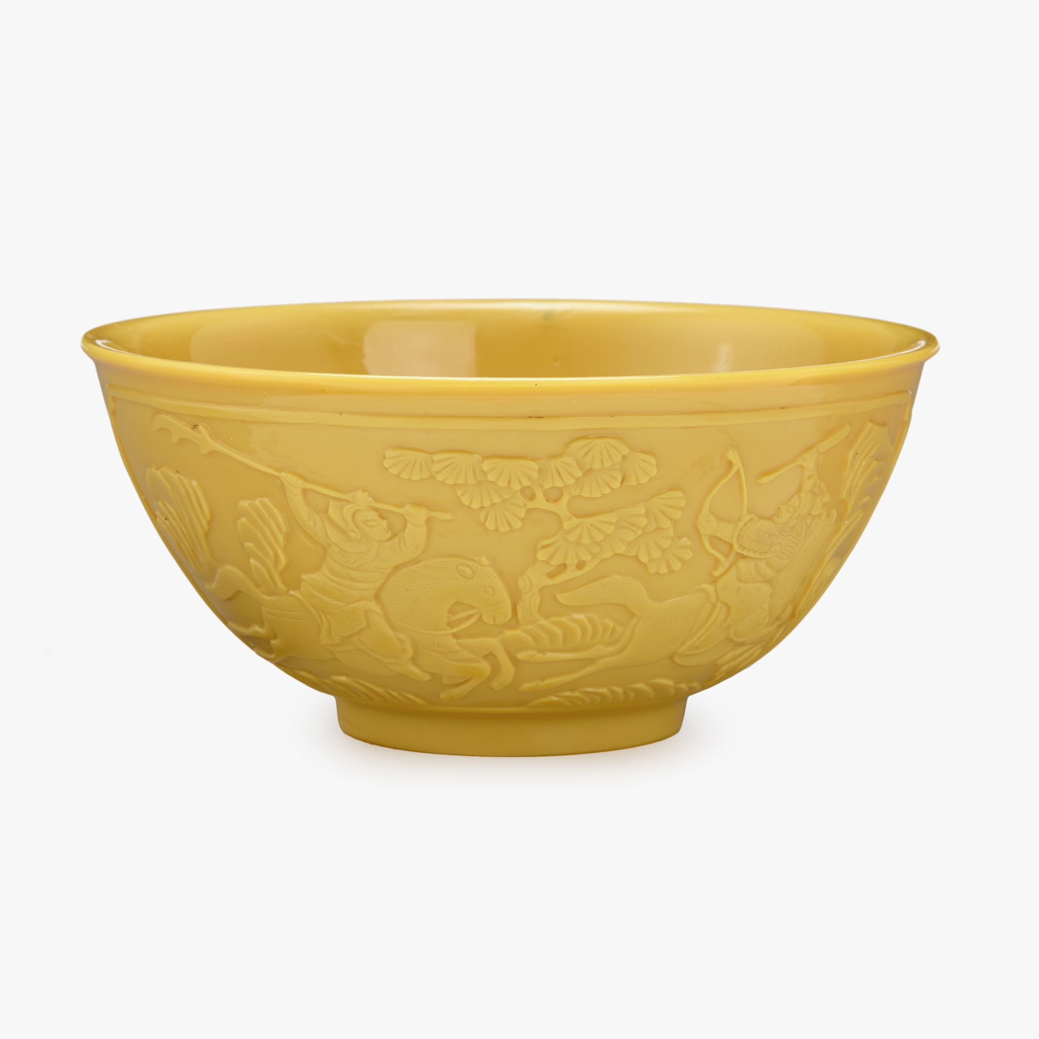 A Chinese yellow glass bowl, carved with warrior figures, Qianlong four-character wheel-cut mark within a square and of the period