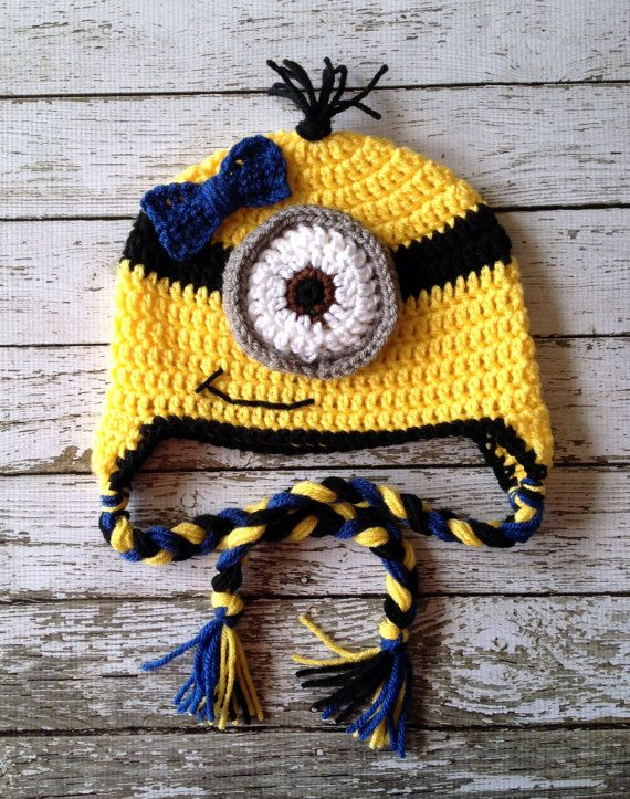 LIttle Miss Minion Inspired Beanie in Yellow, Black and Blue ...