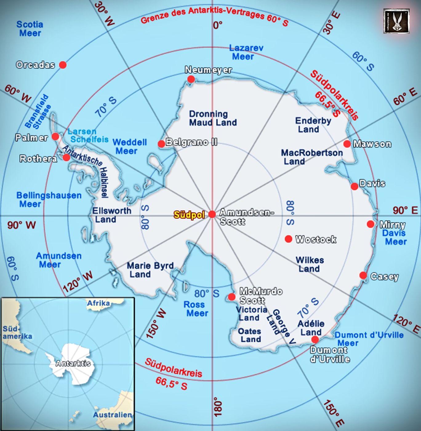 Karte Antarktis Grenze Antarktisvertrag Antarktis Sudpol