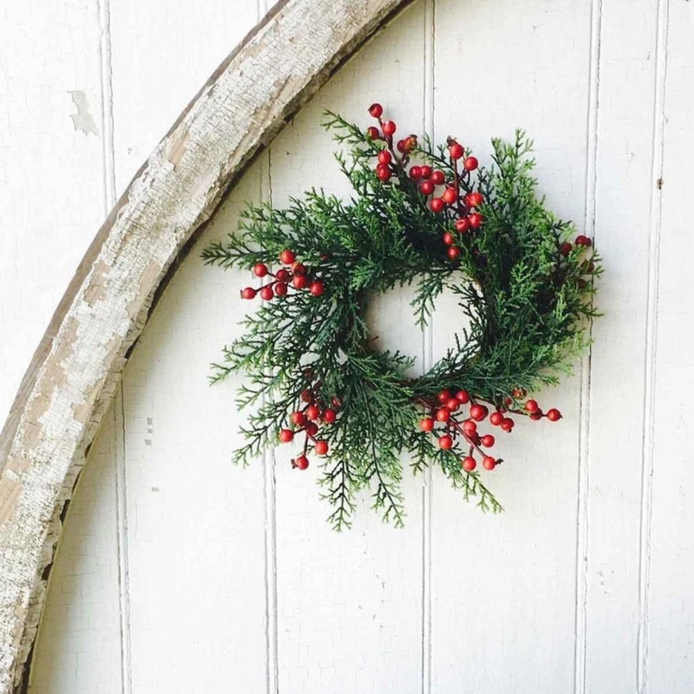 Set of THREE Faux Cedar Candle Rings or Wreaths with Red Berries