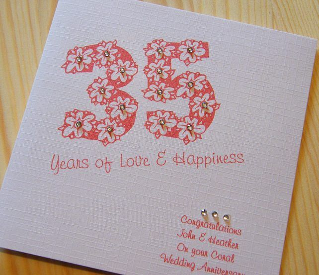 Handmade Card Wedding Anniversary 35th Coral Personalised 269