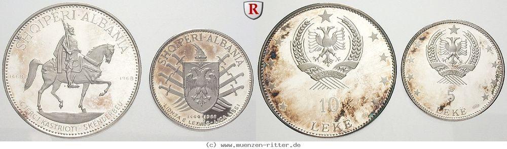 Ritter Albanien 2 Münzen 1968 500 Todestag Skanderberg 5 10