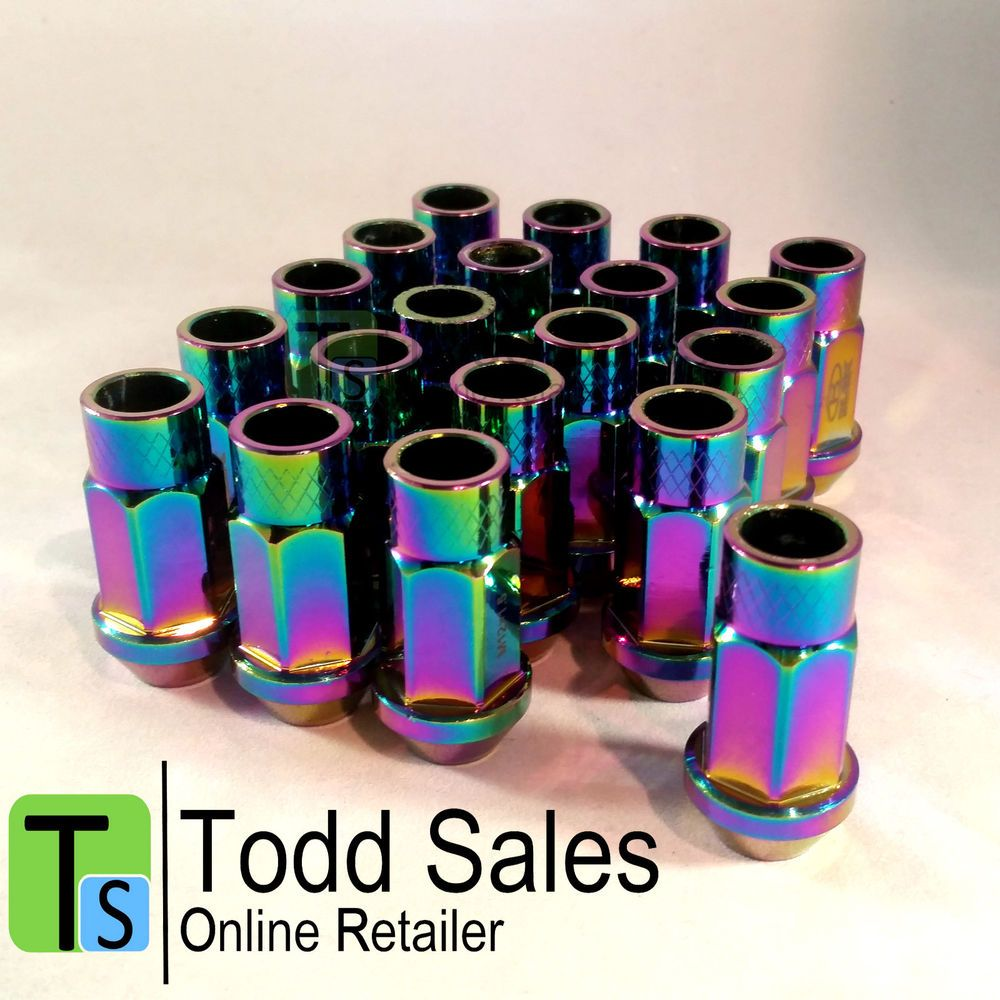 20x Neo Chrome Lug Nuts Wheel Bolts M12x1 5 Oil Slick Fits Honda Toyota Etc These Would Look Great With Black Rims Honda Car Mods Jdm