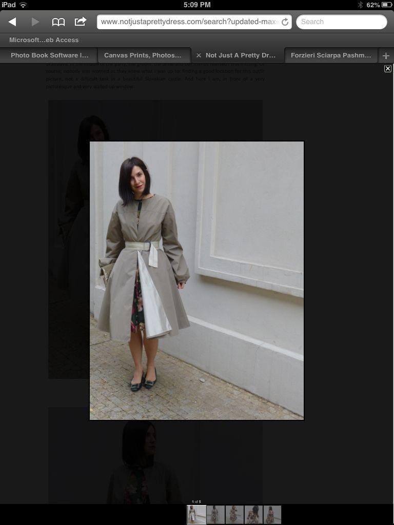 Aquascutum silk raincoat, Marni floral dress Bellerose clutch, Roger Vivier green patent leather Belle Vivier Not just a pretty dress