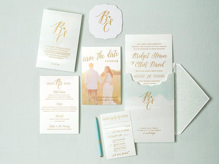 Fabulous Gold Foil Invitations Wedding Weddings and Wedding