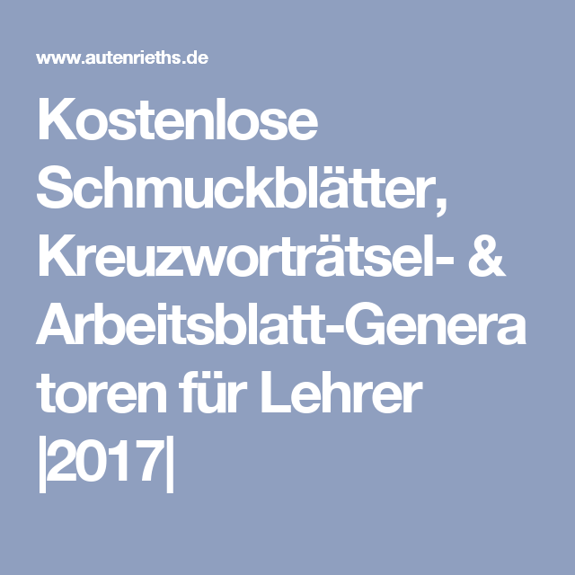 Kostenlose Schmuckblätter, Kreuzworträtsel- & Arbeitsblatt ...
