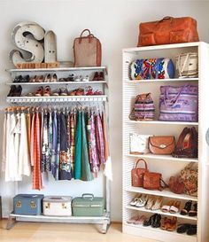 put the hanging rack in the closet and the book shelf against a wall for some space in a dorm or small bedroom