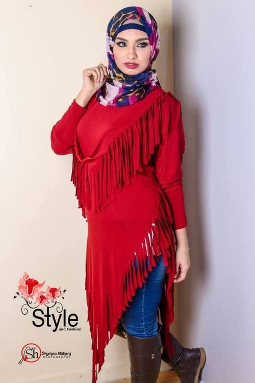 fringe red sweater hijab look, Neutral winter hijab outwears http ...