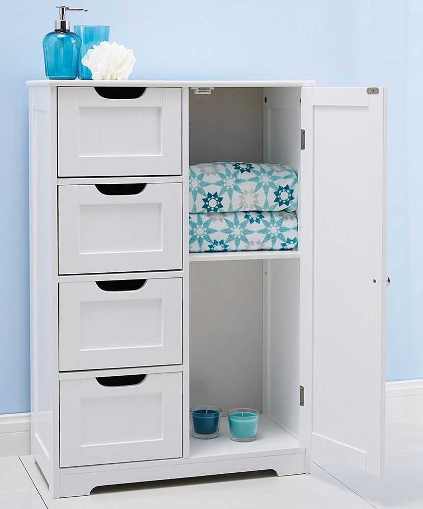 White Wooden Bathroom Cabinet Kitchen Furniture 4 Drawers Storage ...