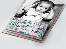 """""""Frühlingskind""""  25 Stck / Babykarte rosa-grün"""