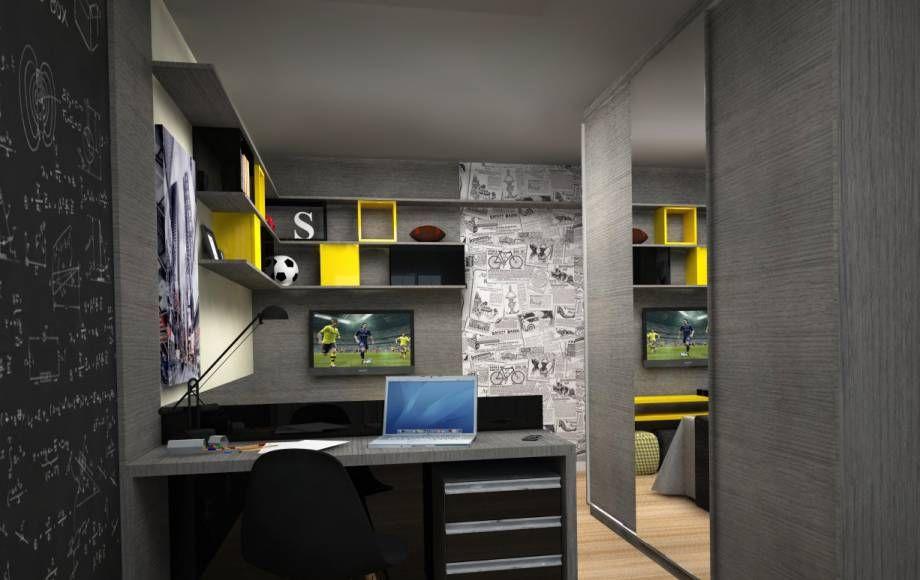 Esse projeto de interiores é de um dormitório para um jovem estudante, de Getúlio Vargas, no Rio Grande do Sul. O traba...