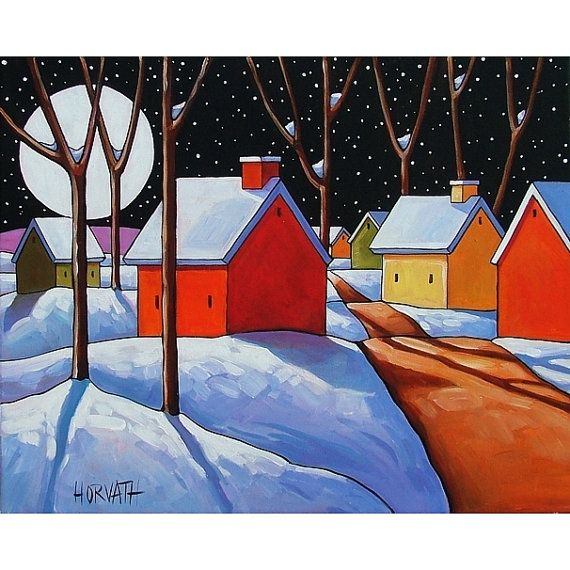 I think this is my favourite painting from this artist.    ORIGINAL Painting Folk Art Winter Snow Night by SoloWorkStudio, $249.00