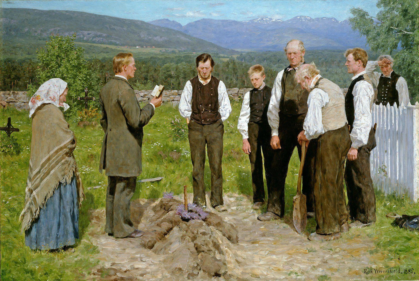 Erik Theodor Werenskiold (Norwegian painter) 1855 - 1936 En Bondebegravelse (Peasant Burial), 1885 oil on canvas 102.5 x 150.5 cm. Nasjonalgalleriet, Oslo, Norway