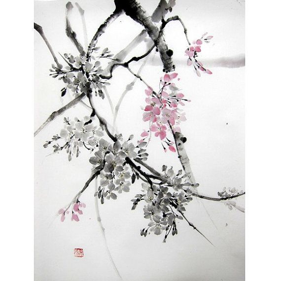 Cherry Blossom 2 Japanese Ink Painting Suibokuga Sumi E Brush