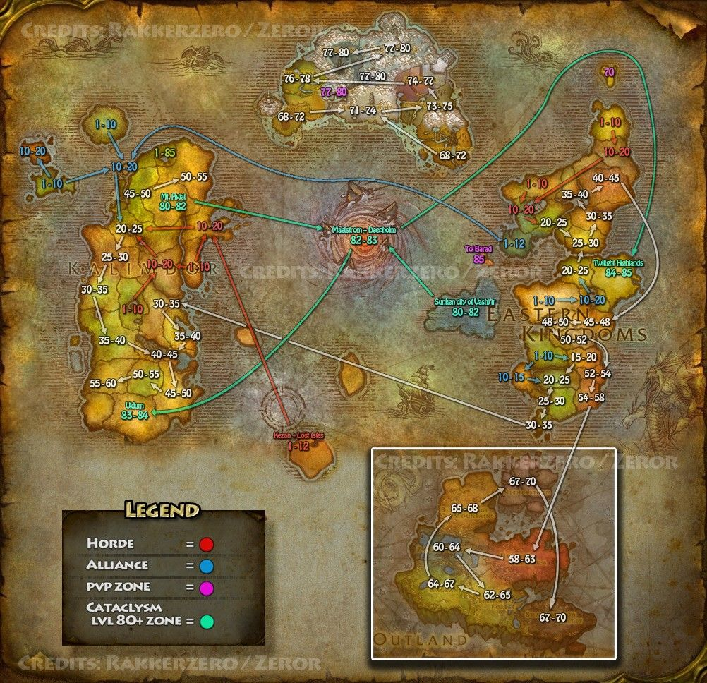 Level Flow For World Of Warcraft During The Cataclysm Era World Of Warcraft Warcraft Flow Map