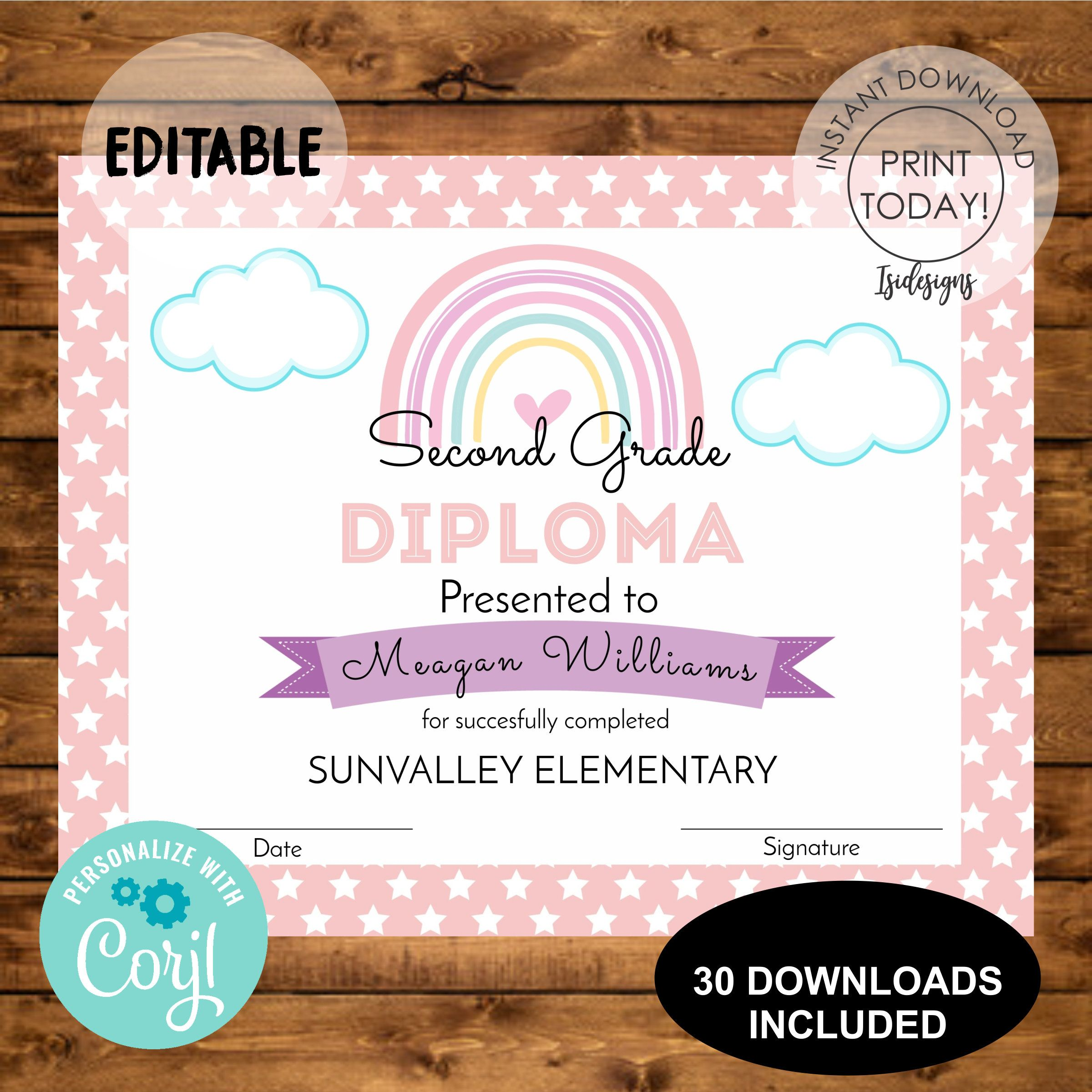 Rainbow Editable Diploma Graduation Certificate Instant Etsy Electronic Invitations Personalized Baby Shower Favors Party Time