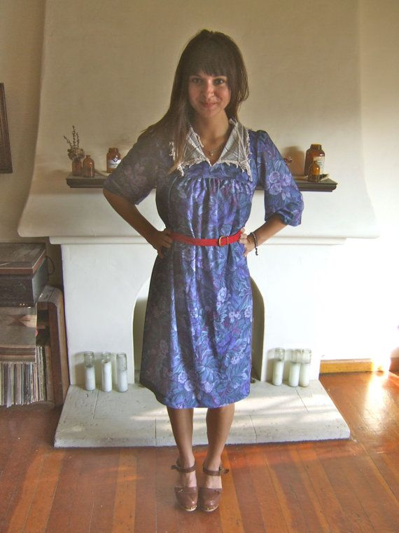 Vintage Blue Floral Dress by TragicMagicVintage on Etsy, $18.00