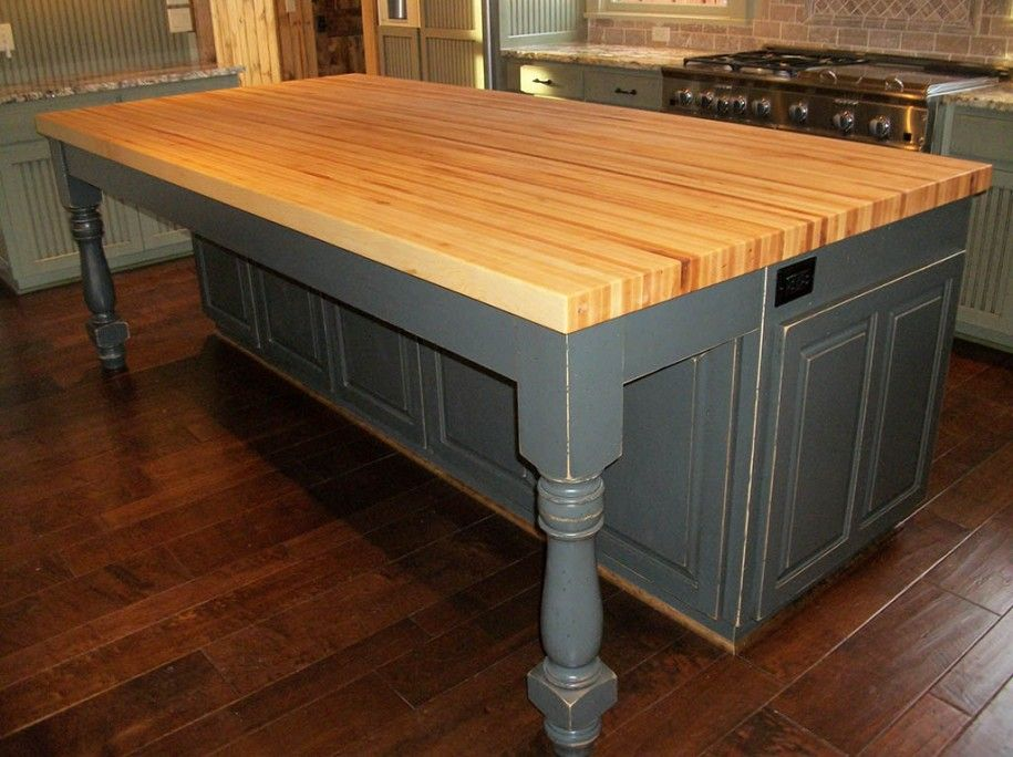 Ikea Kitchen Butcher Block Countertop Island Cabinets With Added On Table Frame And Butcher Block Kitchen Butcher Block Island Kitchen Kitchen Island Table