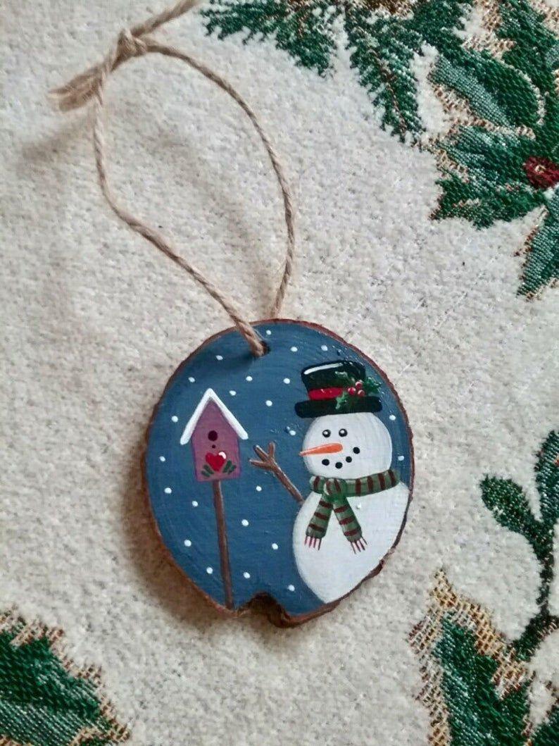 Snowman Wood Slice Ornament Etsy Wood Christmas Ornaments Handmade Christmas Ornaments Christmas Ornaments