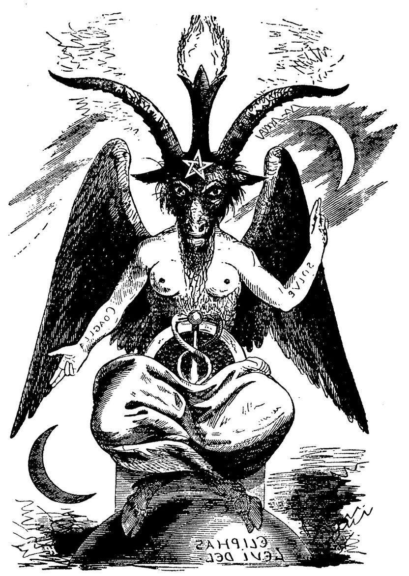 2 Devil Goat Baphomet Temporary Fake Tattoos Waterpoof Pagan Worship