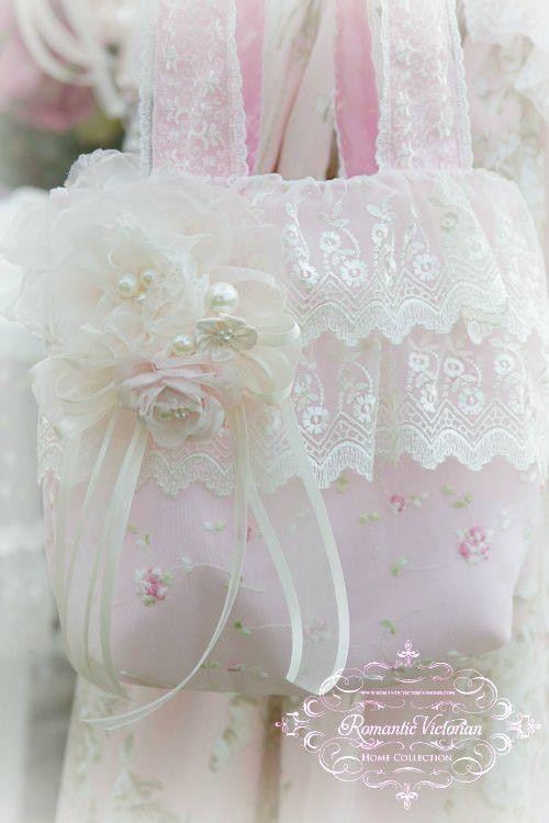 Victorian Pink ruffled Lace Handbag