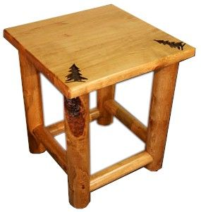 Rocky Mountain Pine Log End Table :: Colorado Pine Log Furniture