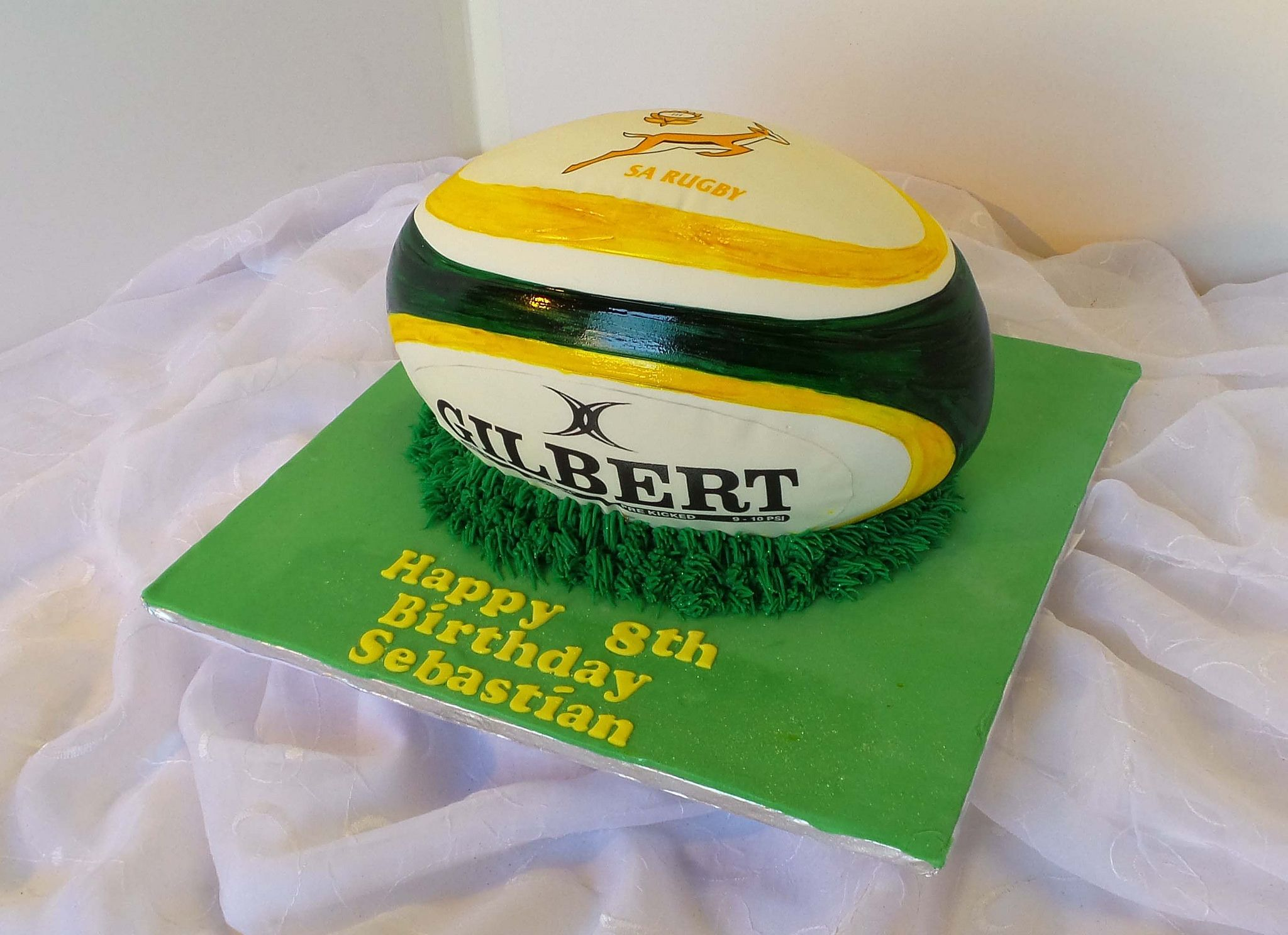 Springbok Rugby Ball Shaped Birthday Cake Rugby Cake Sports Themed Cakes Rugby