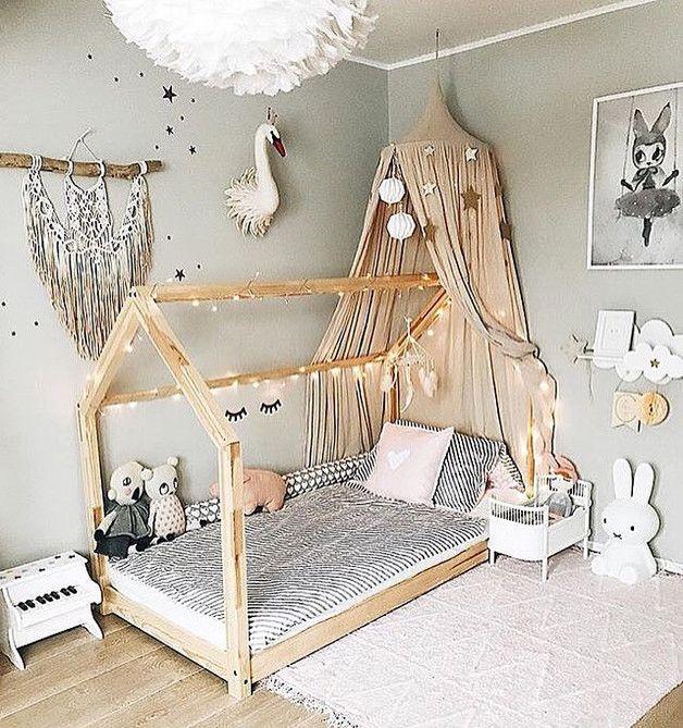 Bett aus Massivholz Hausförmig 90x200 CM Betten Möbel
